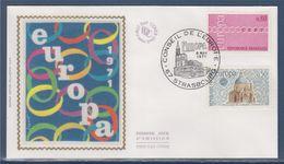 = Europa 1971 Sauvegarde De Venise, 8 Mai 71 Enveloppe Strasbourg, Basilique De La Salute Et Chaine N°1676 Et 1677 - 1971
