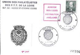 POSTE SOUVENIR UNION PHILATELISTES DES PTT DE LA LOIRE 42 SAINT ETIENNE   CARTE 1 ER JOUR 1983 - Postal Services