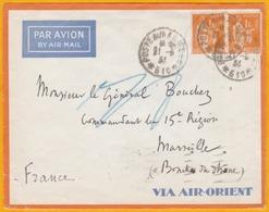 1935 - Enveloppe Par Avion AIR ORIENT Du SP 610 Damas, Syrie Vers Marseille, Poste Aux Armées - FM + Taxe Aérienne - Marcophilie (Lettres)