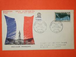 FRANCE 1er JOUR 1958-N°1156 Bruxelles Sur Enveloppe.  TB - 1950-1959