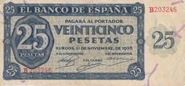 BILLETE DE ESPAÑA DE 25 PTAS DEL 21/11/1936 SERIE B CALIDAD  MBC (VF) (BANKNOTE) - [ 3] 1936-1975 : Regency Of Franco