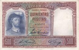 BILLETE DE ESPAÑA DE 500 PTAS DEL AÑO 1931 DE ELCANO CALIDAD EBC (XF) - 500 Pesetas