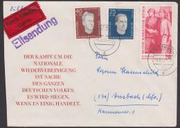 FDC Hans Rothbarth Gustl Sandtner, Portogenau Eil-Brief Vom Ersttag Stadtroda, Rs. Eingangsst. - DDR