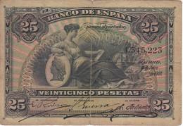 BILLETE DE ESPAÑA CLASICO DE 25 PTAS DEL AÑO 1907 SIN SERIE  (BANKNOTE) - [ 1] …-1931 : First Banknotes (Banco De España)