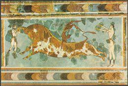 Toreador Fresco, Knossos, Crete, Heraklion Museum, 1981 - Tzaferis Postcard - Greece