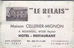 Hôtel Restaurant LE RELAIS Maison CELLERIER-MIGNON à BOISSEUIL 87220 Feytiat - Visiting Cards