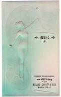 Menu Champagne Miller Caqué & Fils, Mareuil Sur Ay ( Femme Nue Style Art Nouveau, Gaufré, Superbe ) - Menus