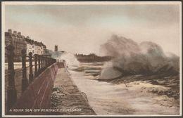 A Rough Sea Off Penzance Promenade, Cornwall, C.1930s - Postcard - England