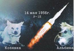 "[2017, Space, Dogs, Rockets] Postcard ""[Flight On A Geophysical Rocket Of Dogs] Kozyavka, Albina. May 14, 1956. P-1E"" - Russia"