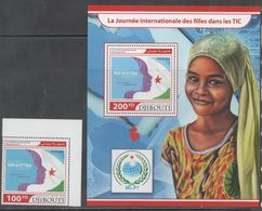 DJIBOUTI, 2017, MNH,GIRLS, CHILDREN, FLAGS, 1v+S/SHEET - Childhood & Youth
