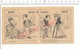 2 Scans Humour 1897 Café Glacier Ice Cream Glace Vanille Alimentaire Coiffure Enfant Barbe Voyage Volcan Vésuve 216PF10X - Non Classés