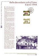 """FRANCE 2014 """" RAFLE DES ENFANTS JUIFS D'IZIEU 6 AVRIL 44"""" Sur Document Philatélique Officiel N°YT 4852. Parfait état DPO - 2. Weltkrieg"""