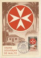 Ordre Souverain De Malte Premier Jour First Day 1956 Leproserie Leper Colony Cyprus Rhodes Palestine Tchibangua Mayumba - Malte
