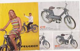 Dépliant Publicitaire 3 Feuillets 15 X 17,5 PEUGEOT 102 Mobylette 2 Roues Année 1968 (2 Scans) - Publicités