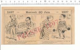 2 Scans Humour 1897 Oeil-de-perdrix Occuliste Pédicure Poids Haltères Insectes Vol Sauterelles Constantine 216PF10X - Non Classés