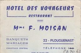 Hôtel Des Voyageurs Restaurant  Mme F. Moisan 22 PLOUGUENAST - Cartes De Visite