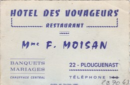 Hôtel Des Voyageurs Restaurant  Mme F. Moisan 22 PLOUGUENAST - Visiting Cards