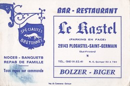 Note Bar Restaurant Le Kastel 29143 PLOGASTEL SAINT GERMAIN Bolzer-Biger Spécialités Bretonnes - Visiting Cards