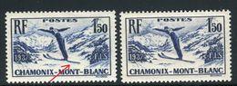 France - N°334  , Variété ,1 Exemplaire 1 Ski Manquant + 1 Normal ,  Neufs Luxe - Ref V334 - Errors & Oddities