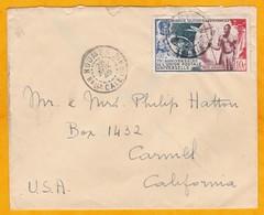 1949 - 10 Francs PA YT 64 Seul Sur Enveloppe De Nouméa Vers Carmel, USA - 75e Anniv UPU - Neukaledonien