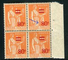 France - N°359 , Variété ,1 Exemplaire Avec Un Tiret Rouge Verticale Dans Un Bloc De 4 ,  Neufs Luxe - Ref V338 - Variedades Y Curiosidades