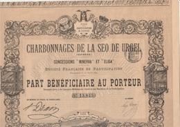 PART BENEFICIAIRE -CHARBONNAGES DE LA SEO DE URGEL- ESPAGNE- ANNEE 1893 - Mines