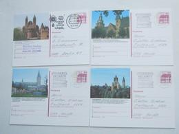 4 Bildpostkarten Verschickt, Ganzsachen - BRD