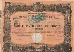 ACTION DE JOUISSANCE -COMPAGNIE PARISIENNE D'ECLAIRAGE  ET DE CHAUFFAGE PAR LE GAZ - 1870 - Electricité & Gaz