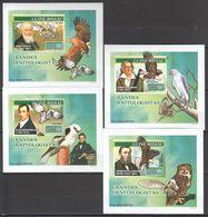 J119 !!! IMPERFORATE 2007 GUINE-BISSAU FAUNA FAMOUS PEOPLE BIRDS GRANDES ORNITOLOGISTAS 4 LUX BL MNH - Eagles & Birds Of Prey