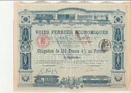OBLIGATION DE 100 FRS 4 % -COMPAGNIE DES VOIES FERREES ECONOMIQUES -  ANNEE 1903 - Automobile