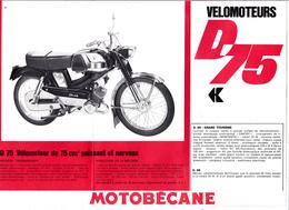 Publicité 2 Feuillets 21 X 20 MOTOBECANE D75 Et Spéciale 94 TT La 98 Et La 93 Mobylette Vélomoteur 2 Roues (2 Scans) - Publicités