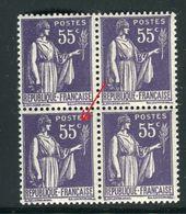 France - N°363 , Variété, 1 Exemplaire Avec Le C De 55 C  Fermé Dans Un Bloc De 4 ,neufs Luxe - Ref V350 - Variedades Y Curiosidades