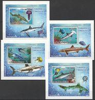 J135 2009 S.TOME E PRINCIPE MARINE LIFE SHARKS TUBAROES E MEDUSAS 4 LUX BL MNH - Meereswelt
