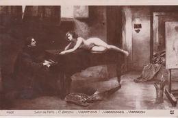 "NU.NUDE .Salon De Paris . "" Vibrations "" ( Femme Nue Allongée Sur Piano Devant Pianiste)  Tableau De C. Bacchi - Cuadros"