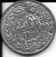 Fausse Pièce 2 Francs Suisse 1894 - Suisse
