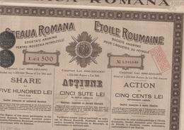 ROUMANIE -LOT DE 5 ACTIONS- DE 100 LEI -ETOILE ROUMANIE -INDUSTRIE DU PETROLE  - 1925 - Pétrole