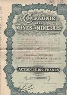 ACTION DE 100 FRS- COMPAGNIE DE MINES ET MINERAIS  ANNEE 1928 - Mines