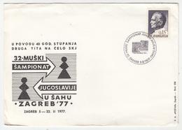 Yugoslavia, 32nd Men Chess Championship Of Yugoslavia 1977 Zagreb Illustrated Letter Cover & Pmk B180210 - Schaken