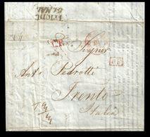 GRAN BRETAGNA 1842 - Sete / Tessiture - Piego In Epoca Penny Black - Lettera Commerciale Con Annulli Rossi, Verso TRENTO - 1840-1901 (Regina Victoria)
