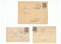 3 LETTRES TIMBRES  ALLEGORIE & PAIX N° 77    1877 & 1878 DE LILLE POUR LILLE (NORD) - Marcophilie (Lettres)