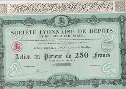 ACTION DE 250 FRANCS  - SOCIETE LYONNAISE DE DEPOTS ET DE CREDIT INDUSTRIEL  - ANNEE 1931 - Banque & Assurance