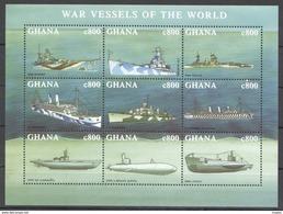 H447 GHANA TRANSPORTATION SHIPS MILITARY WAR VESSELS OF THE WORLD 1KB MNH - Schiffe