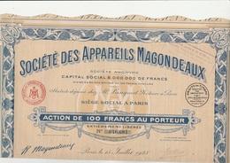 ACTION 100 FRS -SOCIETE DES APPAREILS MAGONDEAUX (ECLAIRAGE AUTOMOBILE ,CAMION CANOTS 1921) - Cars