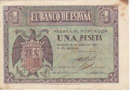 BILLETE DE BURGOS DE 1 PTA DEL 30 ABRIL 1938 SERIE E CALIDAD MBC (VF)  (BANKNOTE) - [ 3] 1936-1975 : Régence De Franco