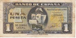 BILLETE DE ESPAÑA DE 1 PTA DEL 4/09/1940 SERIE I CARAVELA  (BANKNOTE) - [ 3] 1936-1975 : Regency Of Franco