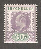Seychelles 1906,KE-VII 30c,Sc 58,VF-XF MLH*OG - Seychelles (...-1976)