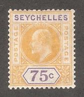 Seychelles 1906,KE-VII,75c,Sc 60,VF MH*OG - Seychelles (...-1976)