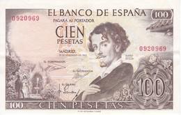 BILLETE DE ESPAÑA DE 100 PTAS DE AÑO 1965 BECQUER SIN SERIE  (BANK NOTE) RARO - [ 3] 1936-1975 : Régimen De Franco