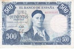 ¡¡CAPICUA!! BILLETE DE ESPAÑA DE 500 PTAS DEL AÑO 1954 IGNACIO ZULOAGA  2316132 - [ 3] 1936-1975: Regime Van Franco