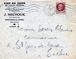 """SAONE & LOIRE: """" VINS EN GROS J. Nectoux à Montceau Les Mines / LSC De 1945 Pour St Jean De Vaux TB - Postmark Collection (Covers)"""